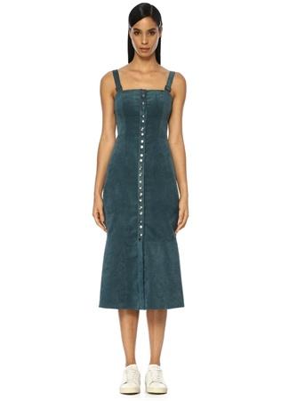Finders Keepers Kadın Prisms Mavi Midi Kadife Elbise Lacivert M ST
