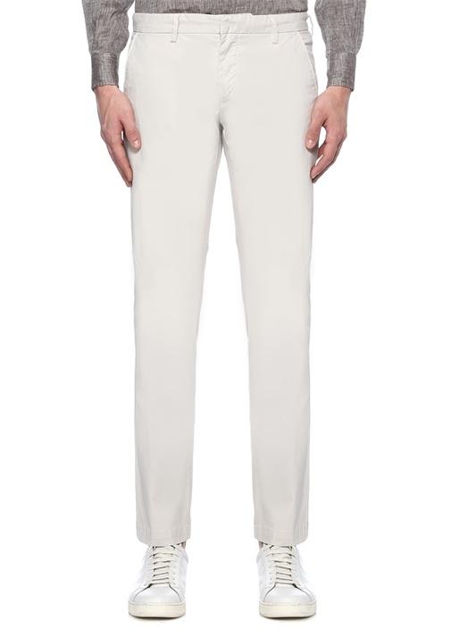 Ekru Normal Bel Fermuarlı Cepli Pantolon