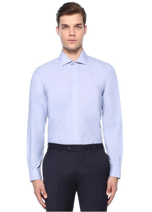 Mavi Çizgili Non Iron Gömlek