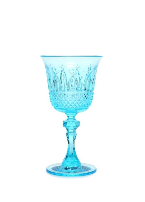 İtalia Mavi Kristal Desenli Kadeh