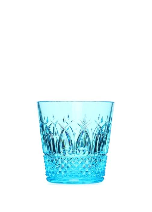 İtalia Mavi Kristal Desenli Bardak