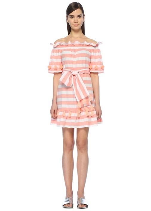 Sundress Lily Pembe Çizgili Ponponlu Mini Elbise – 780.0 TL