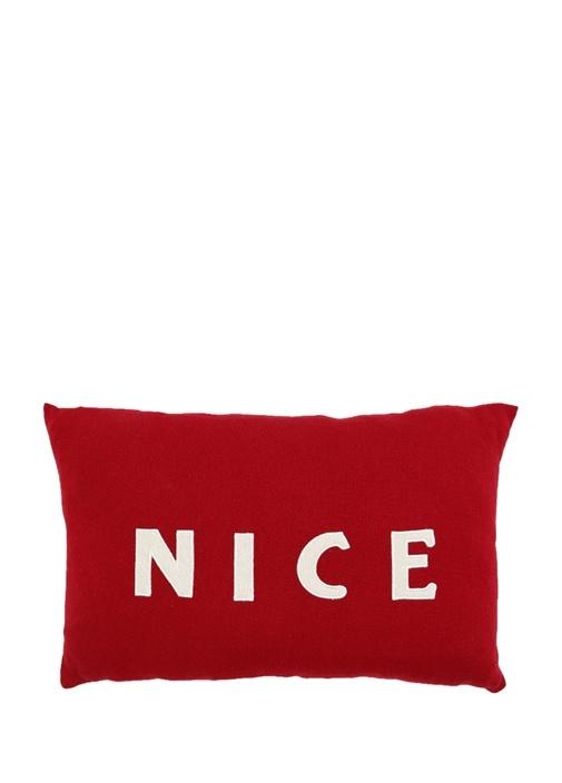 Kırmızı Nice Nakışlı 48x30 cm DekoratifYastık