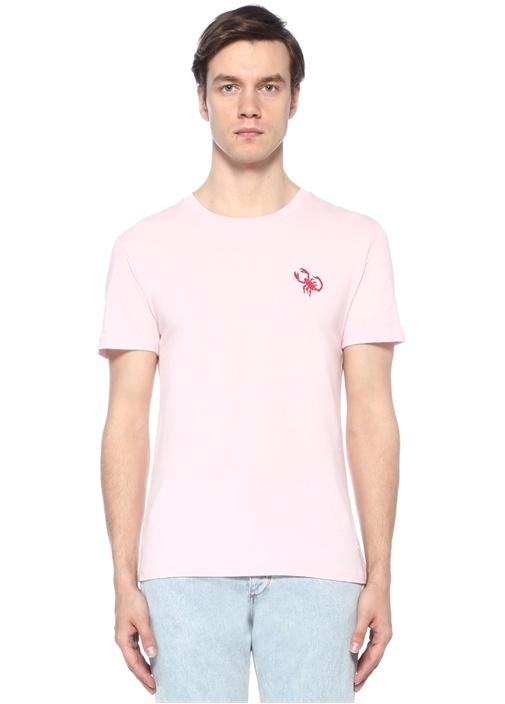 Pembe Bisiklet Yaka Akrep Baskılı BasicT-shirt