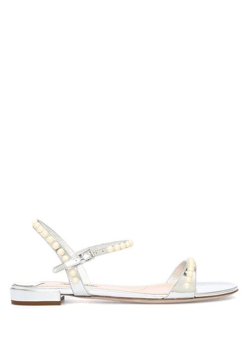 Miu Miu Gümüş KADIN  Silver İnci İşlemeli Kadın Deri Sandalet 497326 Beymen