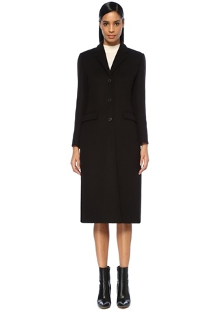 Siyah Kelebek Yaka Klasik Yün Palto