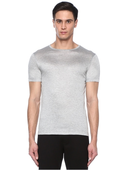 James Gri Melanj Bisiklet Yaka Basic T-shirt