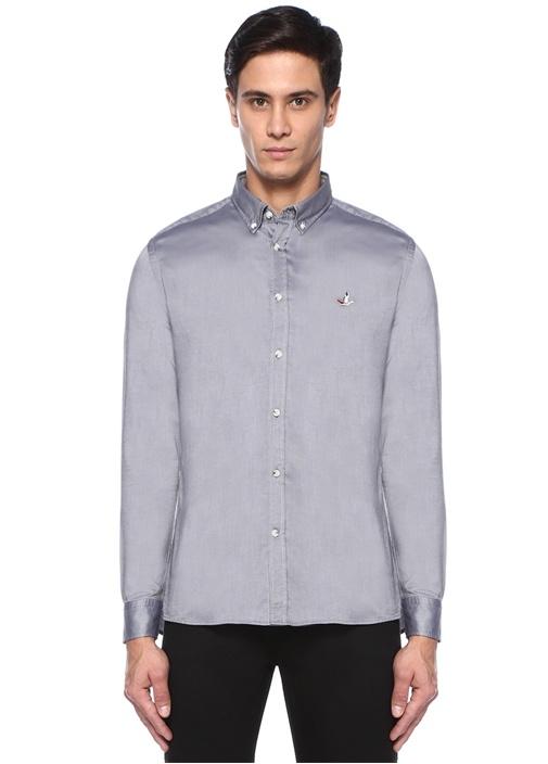 Slim Fit Siyah Yıkamalı Oxford Gömlek