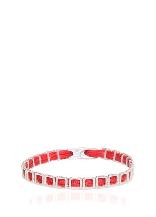 Kırmızı Silver Geometrik Formlu Erkek Bileklik