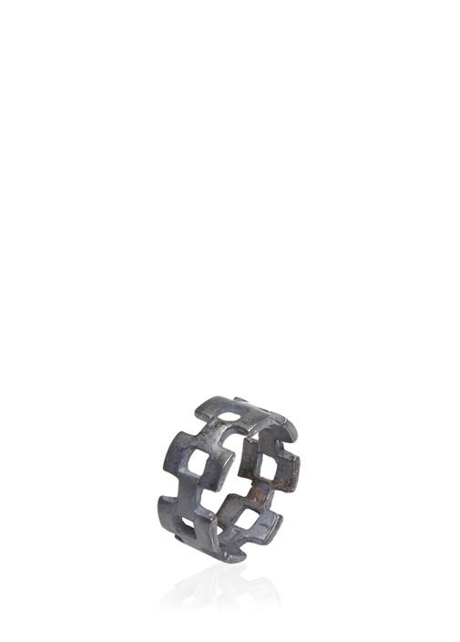 Silver Geometrik Formlu Erkek Yüzük