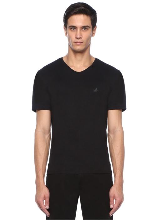 Siyah V Yaka Logolu T-shirt