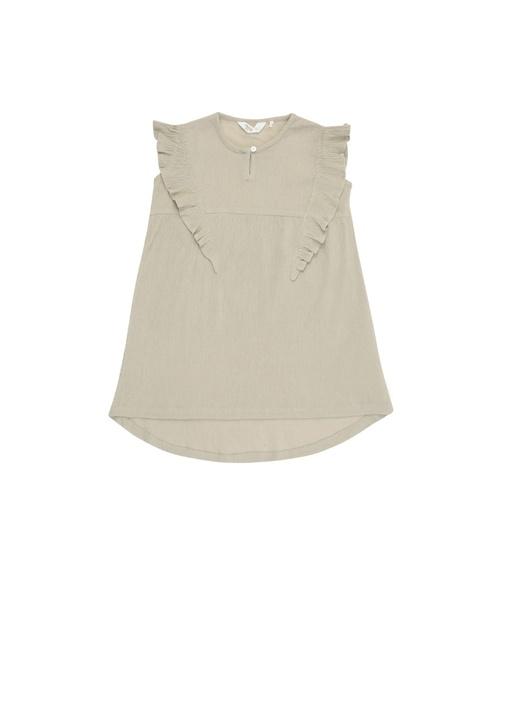 Bej Fırfır Detaylı Dokulu Kız Çocuk Elbise