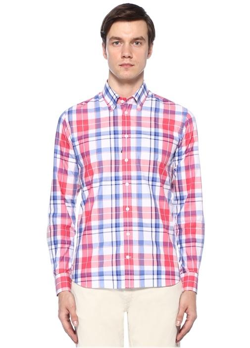 Slim Fit Mavi Ekoseli Yakası Düğmeli Gömlek