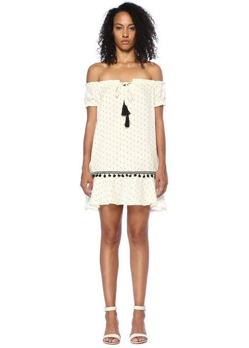 Common Ground Ekru Omzu Açık Mini Elbise