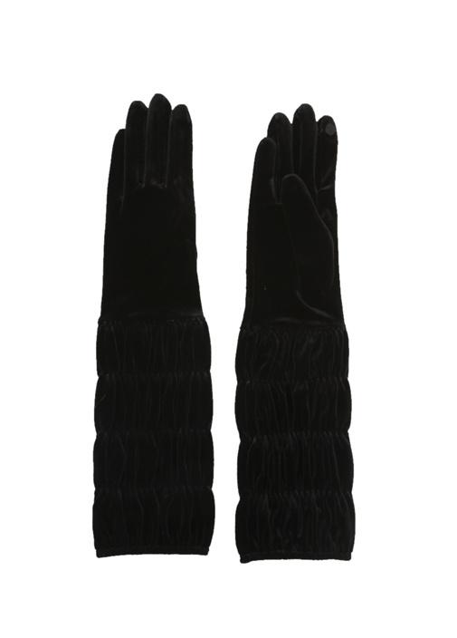 Siyah Drapeli Kadın Kadife Eldiven