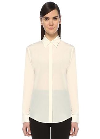 Beymen Collection Kadın Beyaz Klasik İpek Gömlek Bej 48