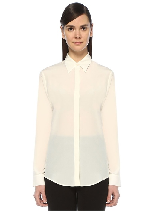 Beyaz Klasik İpek Gömlek