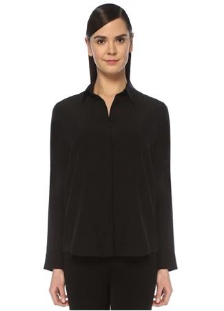 Beymen Collection Kadın Siyah Kesik Yaka Klasik İpek Gömlek 48