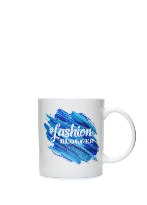 Fashion Blogger Mavi Baskılı Porselen Kupa