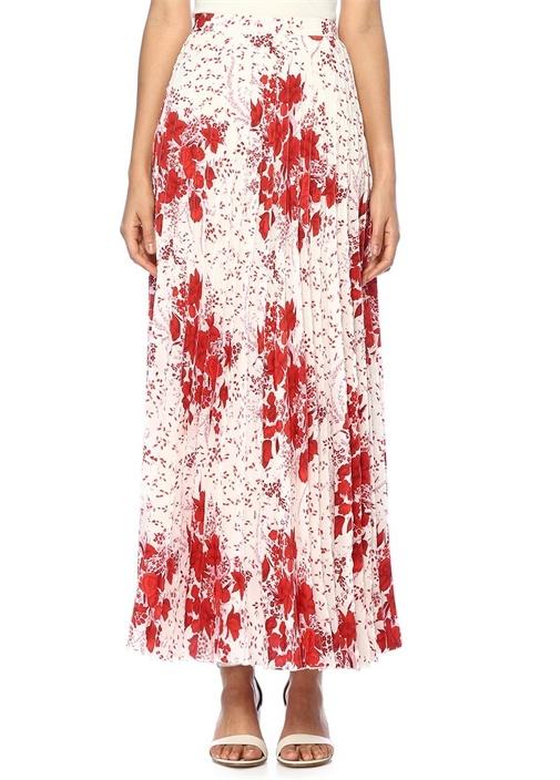 Kırmızı Beyaz Çiçekli Pileli Maksi İpekEtek