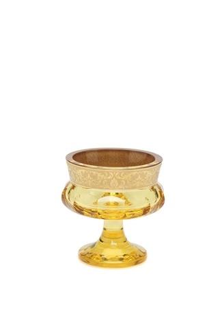 Moser Gold İşlemeli Ayaklı Kristal Dekoratif Kase Sarı Ürün Resmi