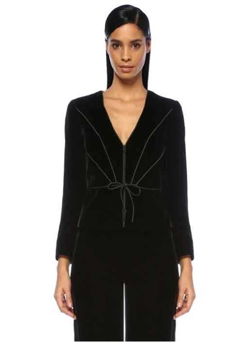 Emporıo Armanı Siyah V Yaka Şeritli Bağcıklı Kadife Ceket – 4049.0 TL