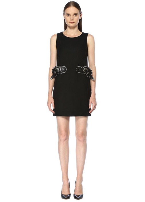 Siyah Silver Kemer Detaylı Mini Elbise