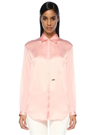 Dsquared2 Kadın Pembe Klasik Yaka Gizli Düğmeli İpek Gömlek 42 I (IALY) Ürün Resmi
