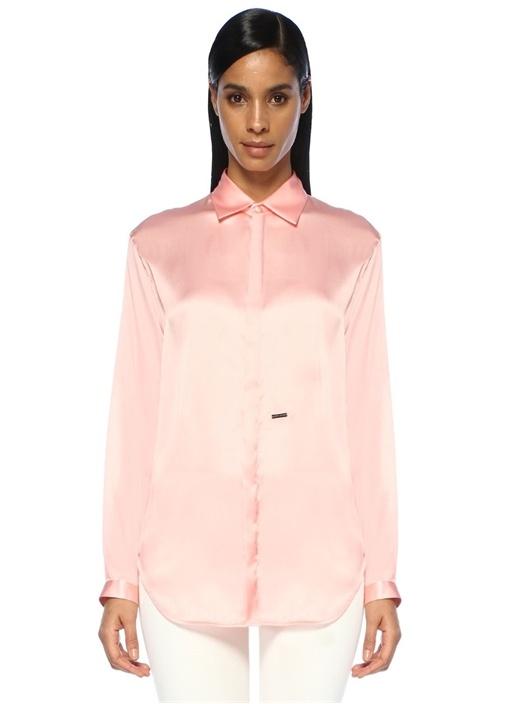 Pembe Klasik Yaka Gizli Düğmeli İpek Gömlek