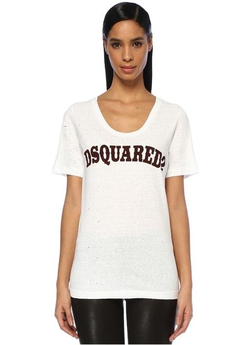 Beyaz Logo Baskılı Yıpratmalı T-shirt