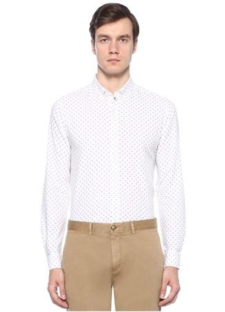 Beyaz Mavi Damla Desenli Gömlek