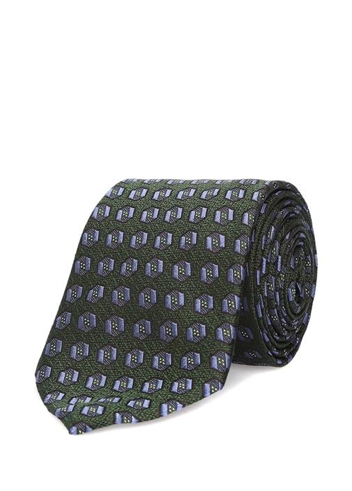 Yeşil Mikro Geometrik Desenli İpek Kravat