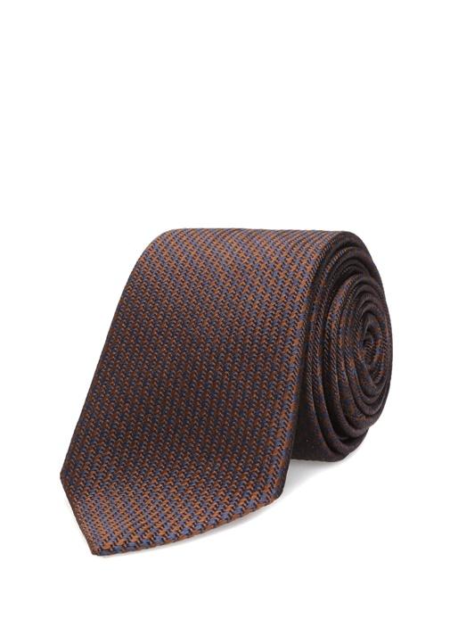 Lacivert Kahverengi Kazayağı Desenli İpek Kravat