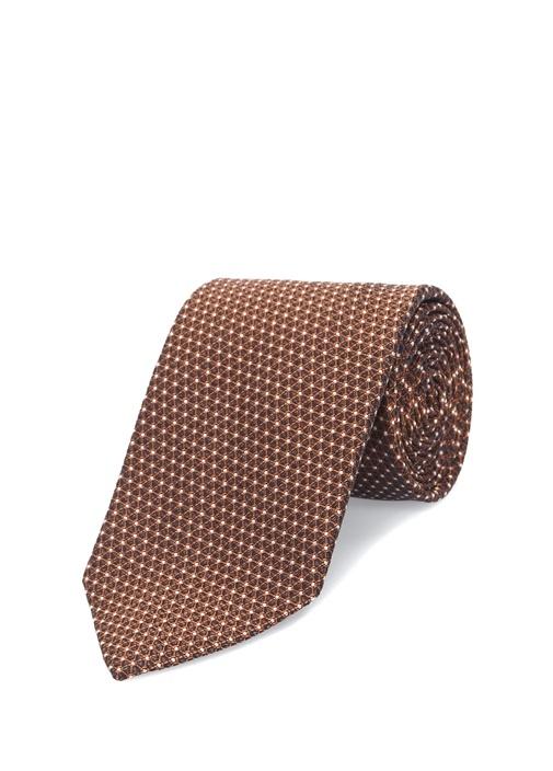 Turuncu Mikro Desenli İpek Kravat