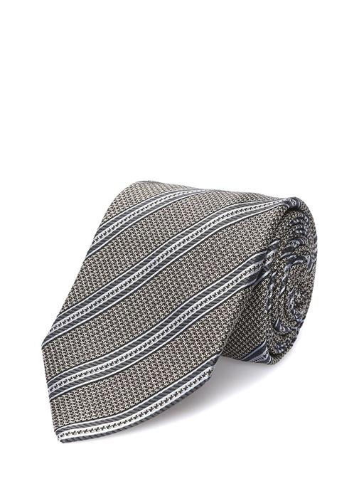 Gri Mavi Çizgili İpek Kravat