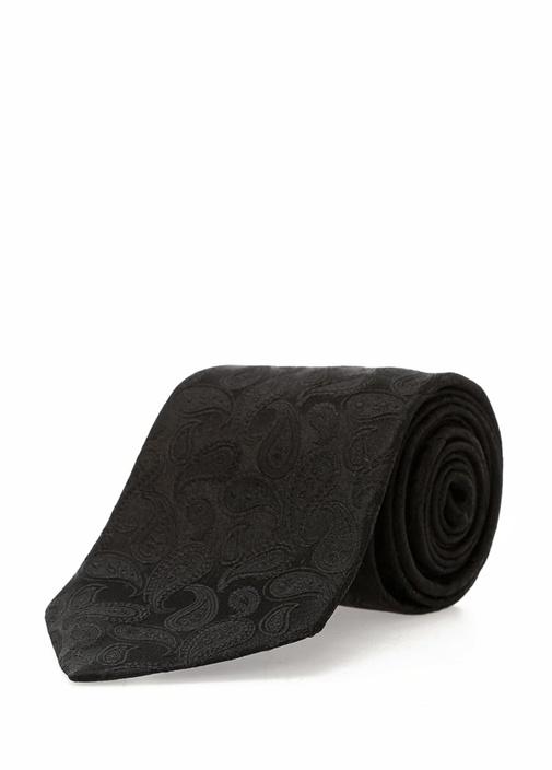 Siyah Şal Desenli İpek Kravat