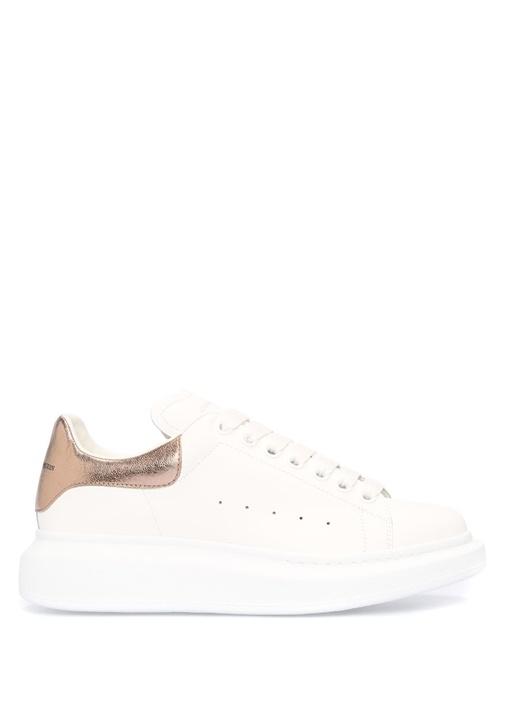 Beyaz Metalik Renk Detaylı Kadın Deri Sneaker