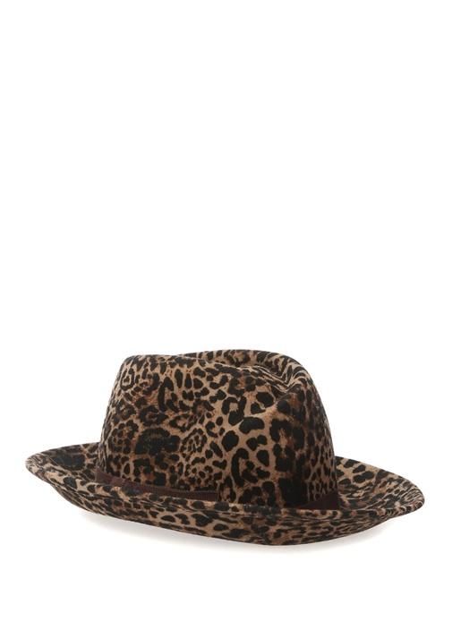 FERRUCCIO VECCHI Ferruccıo Vecchı Kahverengi Leopar Desenli Bantlı Kadın Yün Şapka  735.0 TL