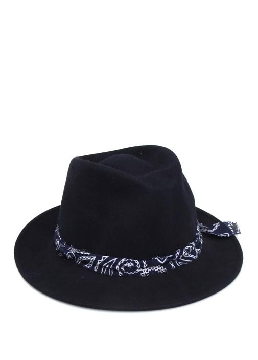 Lacivert Garni Şeritli Kadın Yün Şapka