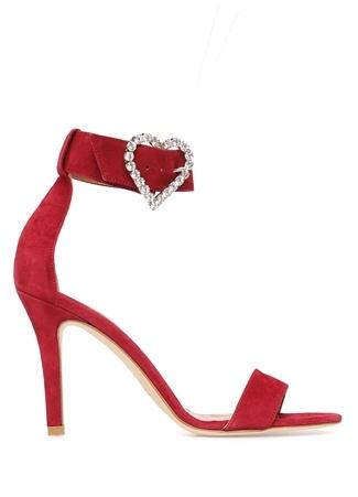 Paris Texas Kadın Bordo Taşlı Broş Detaylı Deri Sandalet 38 EU