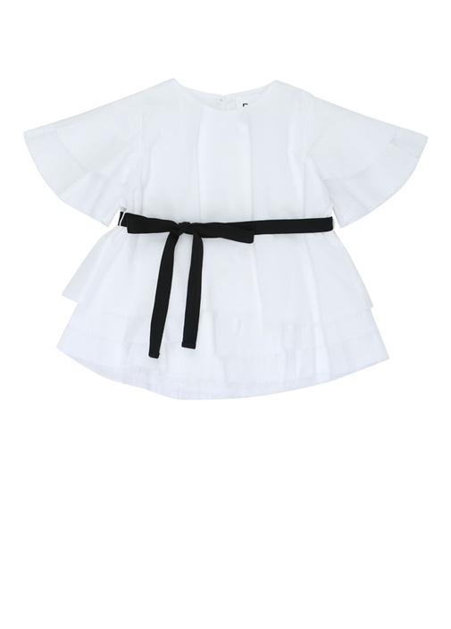 Beyaz Kuşak Detaylı Kız Çocuk Elbise