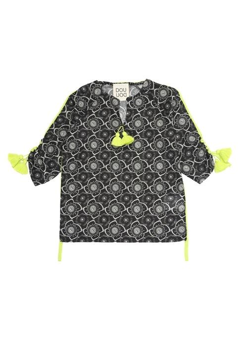 Bice Siyah Çiçekli Neon Şeritli Çocuk Elbise