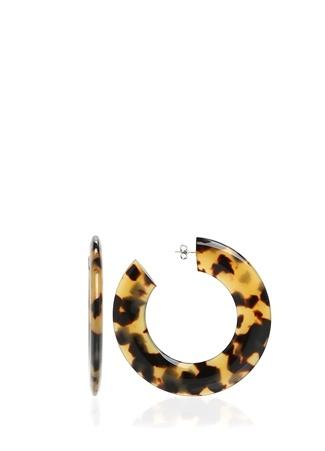 Angela Caputi Kadın Leopar Desenli Halka Formlu Küpe Altın Rengi