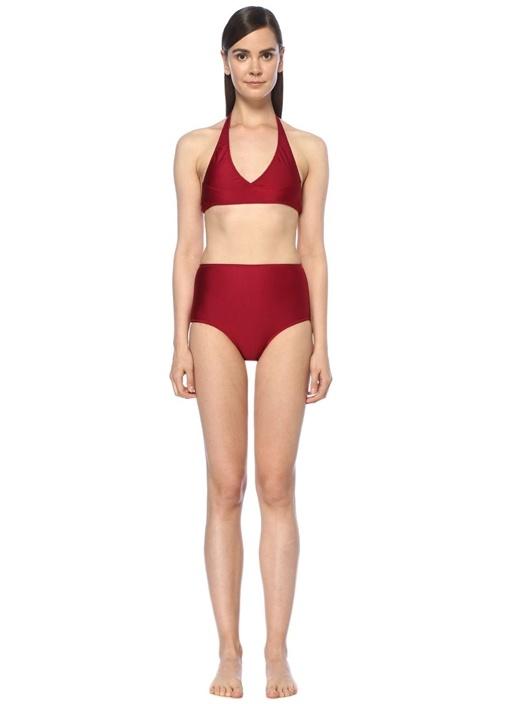 Deniz Bordo Yüksek Bel Bikini Takımı