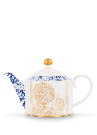 Pip Studio Royal Beyaz Desenli Çiçek Baskılı Porselen Demlik
