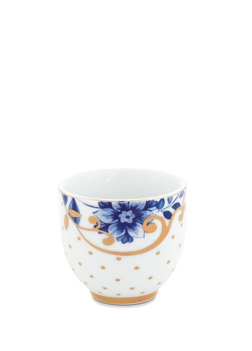 Royal Beyaz Çiçek Baskılı Porselen Yumurtalık
