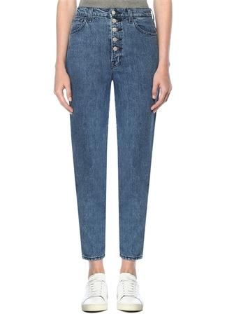 J Brand Kadın Yüksek Bel Düğmeli Straight Fit Crop Jean Pantolon Mavi 29 US