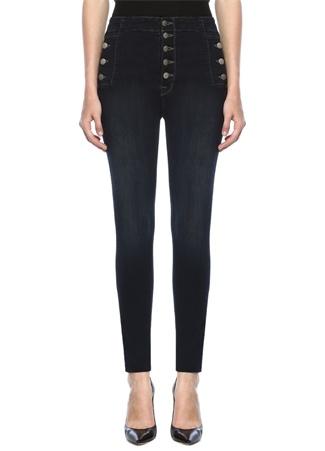 J Brand Kadın Natasha Yüksek Bel Düğmeli Skinny Jean Pantolon Lacivert 29 US