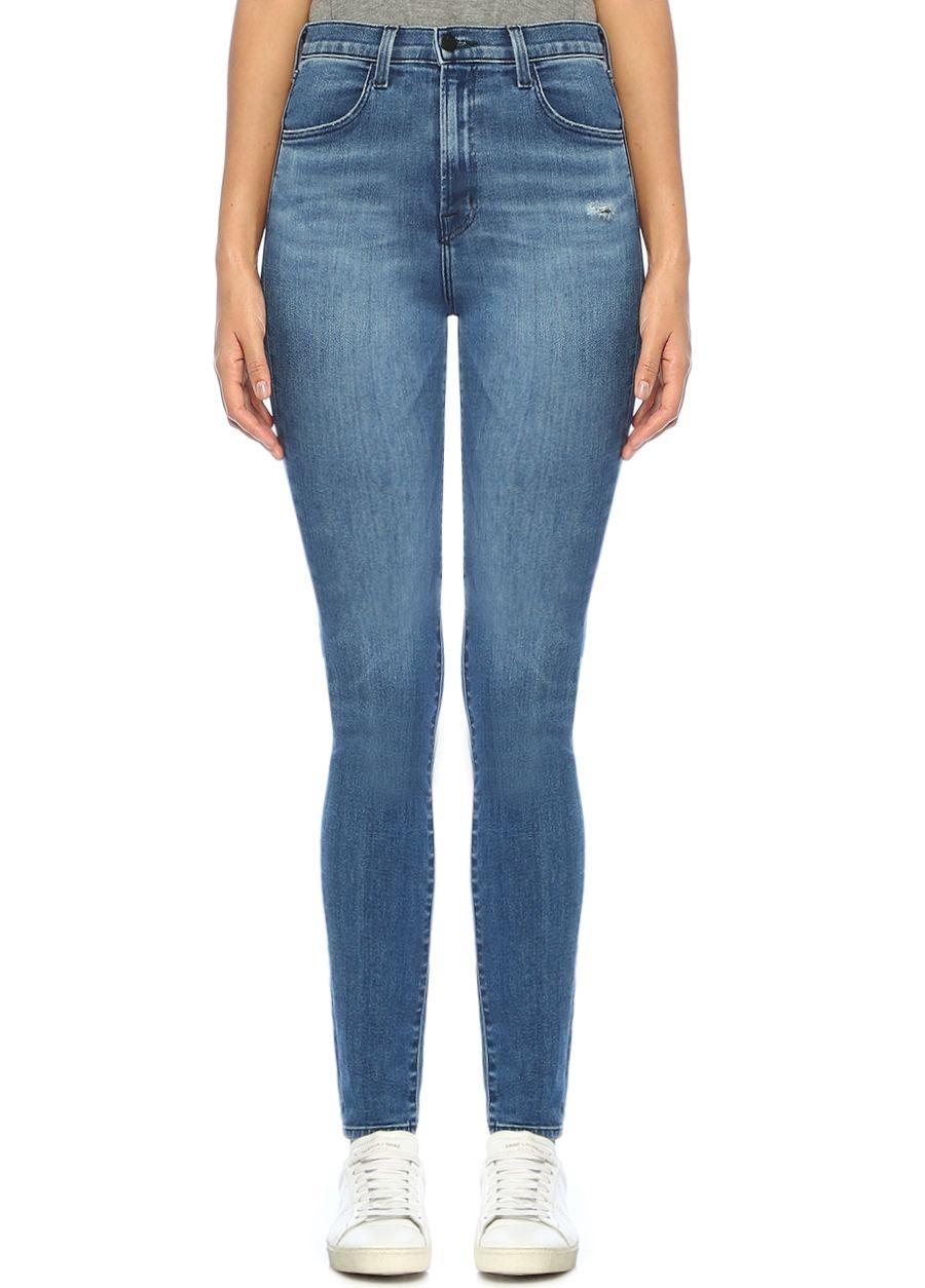 J Brand Yüksek Bel Yıpratmalı Skinny Jean Pantolon