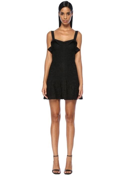 Linzi Siyah Volanlı Dantelli Mini Elbise